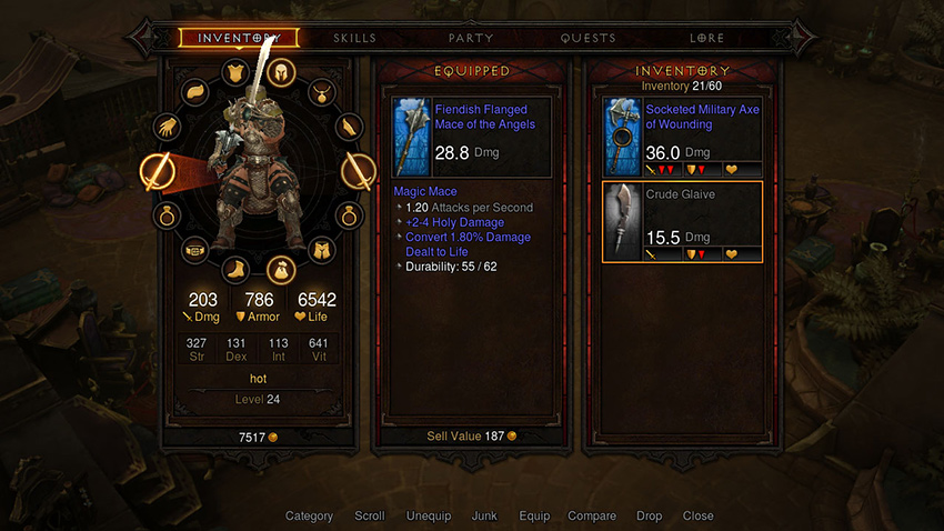 Diablo 3 Console Inventory Screen