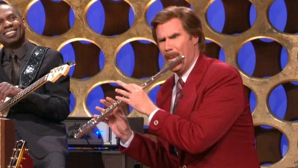 Will Ferrell's Ron Burgundy Talks Prison Riots and Rocks Flute Solo on Conan
