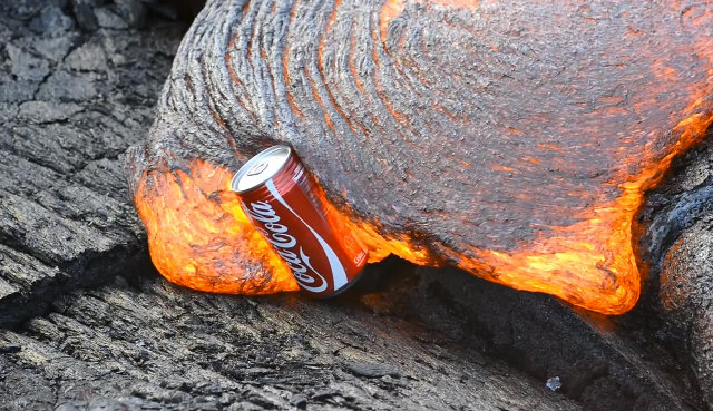 Lava Porn: Watching Lava Destroy Coke Cans is Awesome