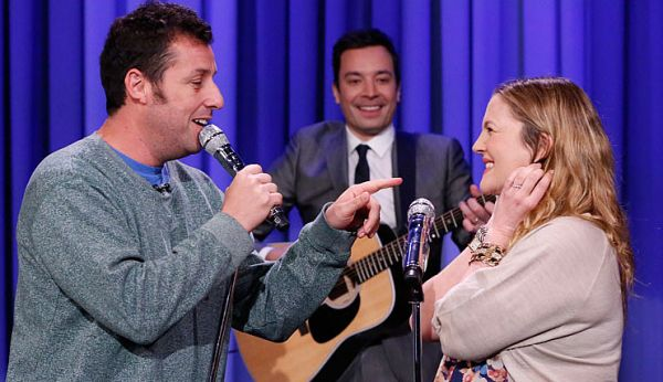 Adam Sandler and Drew Barrymore Sing a Duet on 'Tonight Show'