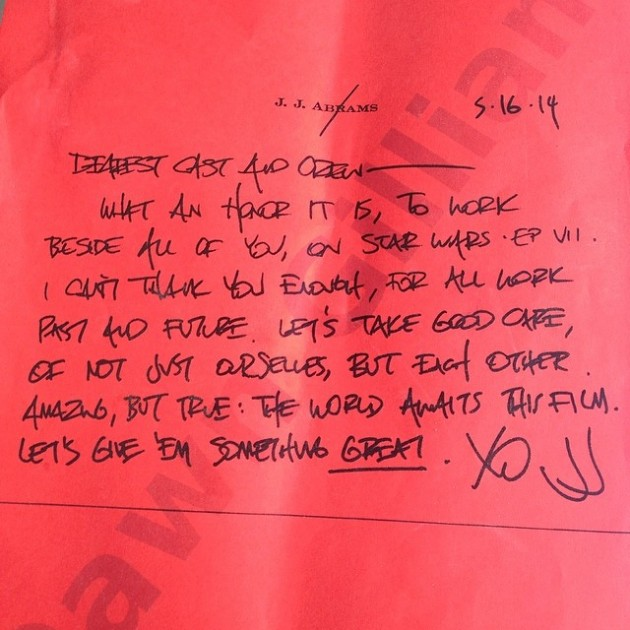 J.J. Abrams Note sent to Star Wars Episode 7 Cast and Crew
