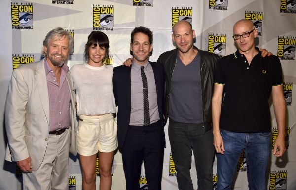 """""""Ant-Man"""" cast members Michael Douglas, Evangeline Lilly, Paul Rudd and Corey Stoll. Including """"Ant-Man"""" director Peyton Reed (Image courtesy of broadwayworld.com)"""