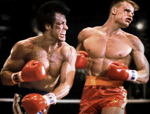 "Sylvester Stallone and Dolph Lundgren in ""Rocky 4"""