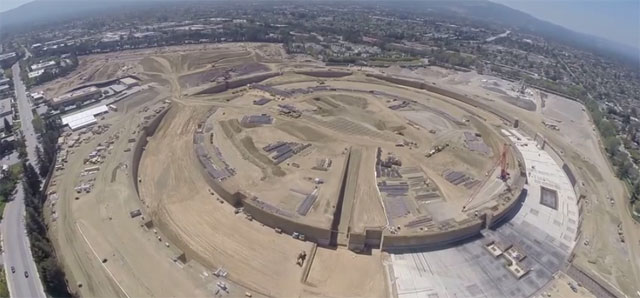 Drone Reveals New Apple Spaceship Campus Being Built