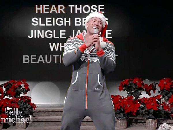 It's The Rock Singing Christmas Karaoke In A Pajama Onesie