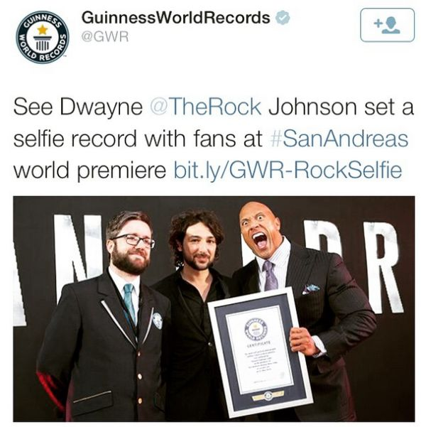 Dwayne 'The Rock' Johnson Breaks Guinness World Record at 'San Andreas' Premiere
