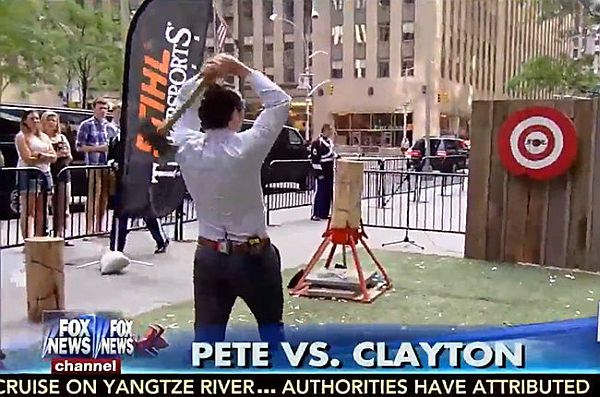 Video: Fox News Host Accidentally Hits Drummer in Axe Throwing Incident