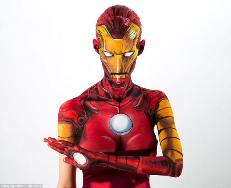 Kay Pike Iron Man cosplay Body Paint Sexy 1