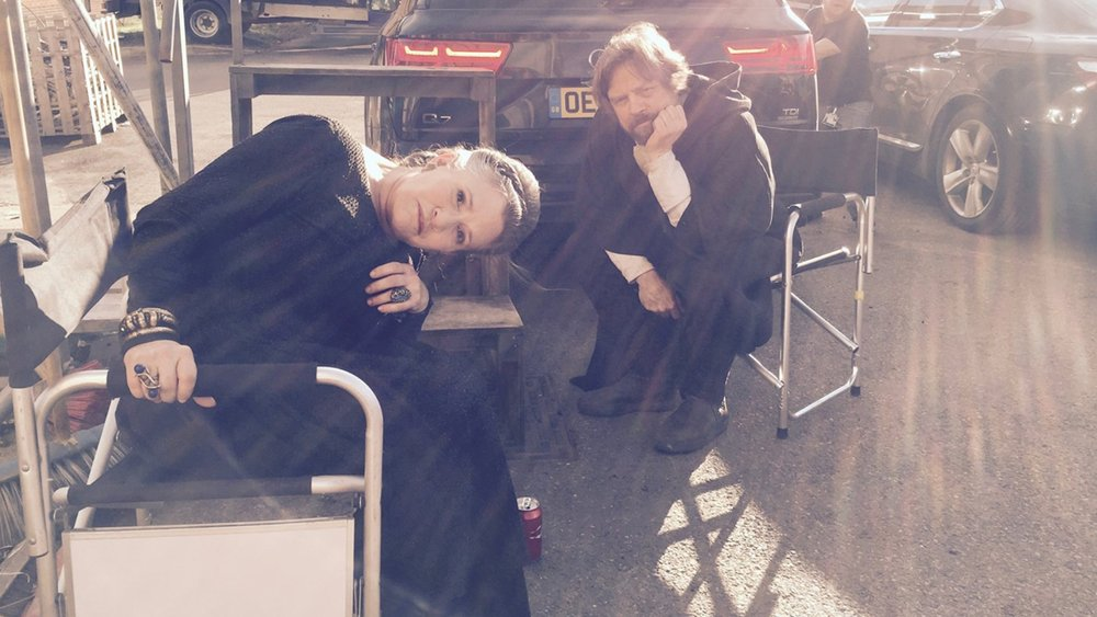 Carrie Fisher and Mark Hamill Reunite on the Set of STAR WARS: EPISODE VIII in This Photo