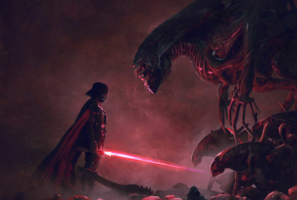 Darth Vader Vs. Xenomorph in Gloriously Badass STAR WARS and ALIENS Fan Art Series